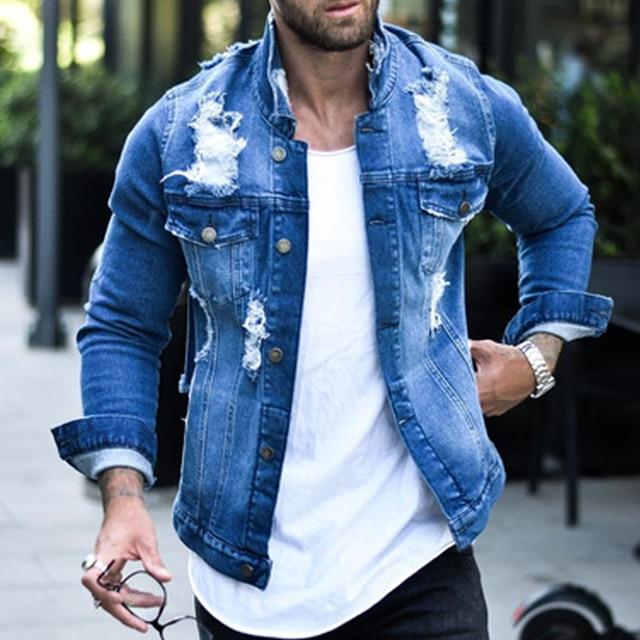 Jeans Jakcet Coat Men Blue Black Denim Jackets Male 2021 Spring Autumn Men Clothing Streetwear Casual Slim Fit Jean Coat 2