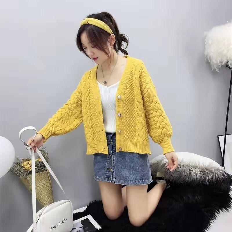 Vrouwen 2020 Lente Zomer Chic Cropped Vest Trui Vrouwelijke Knitwear Korte Vesten Dames Lange Mouwen Twist Gehaakte Top G334