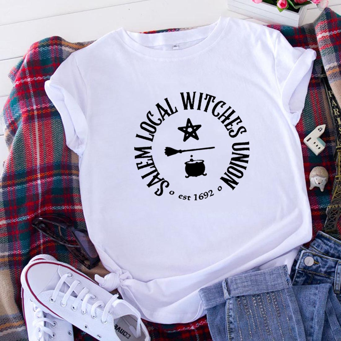 Camiseta de manga corta de algodón para Mujer, blusa holgada informal de...