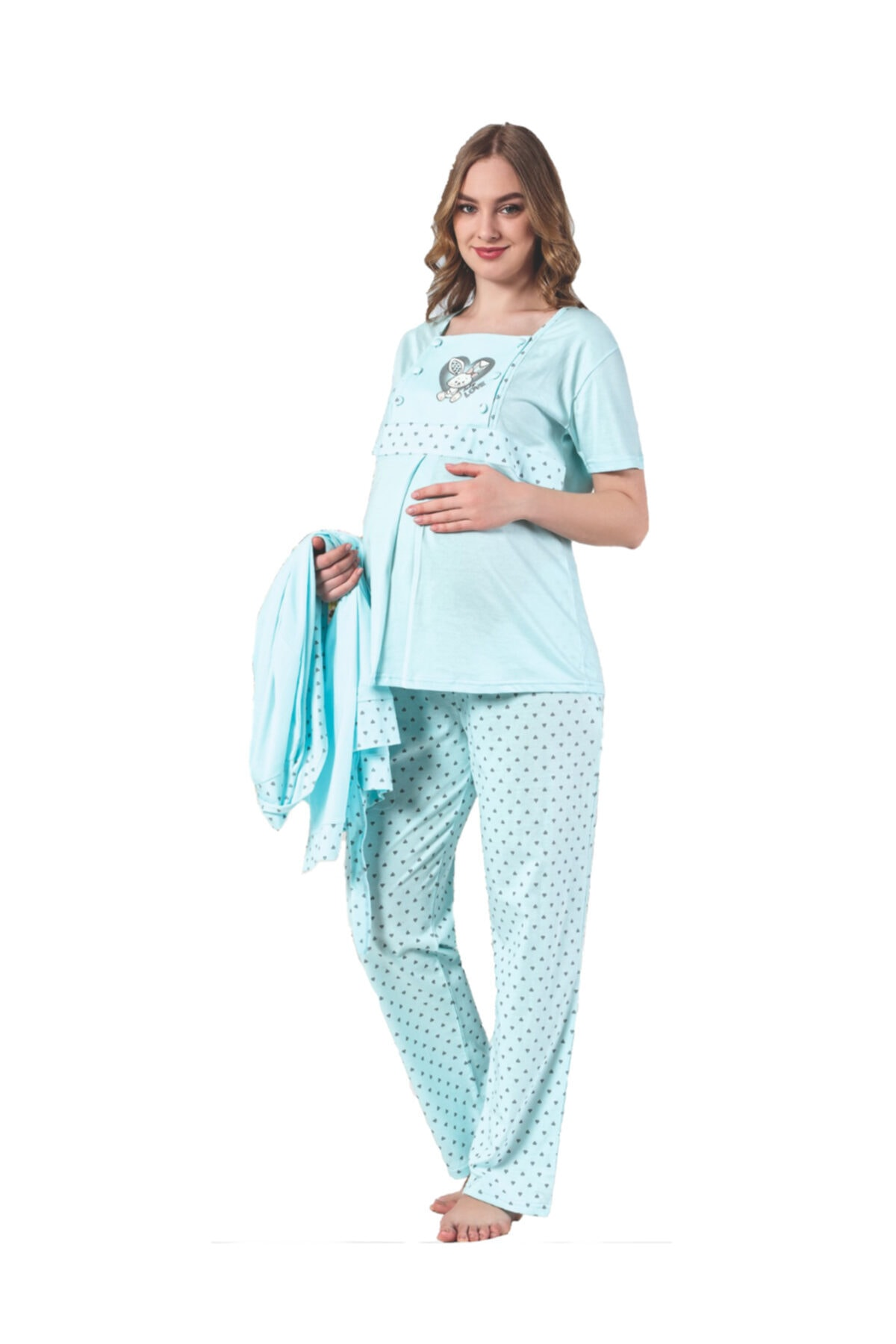 Maternity Sleepwear Team Emzirmeli Sabahlıklı Short Sleeve 3 Pcs Set 7103 enlarge