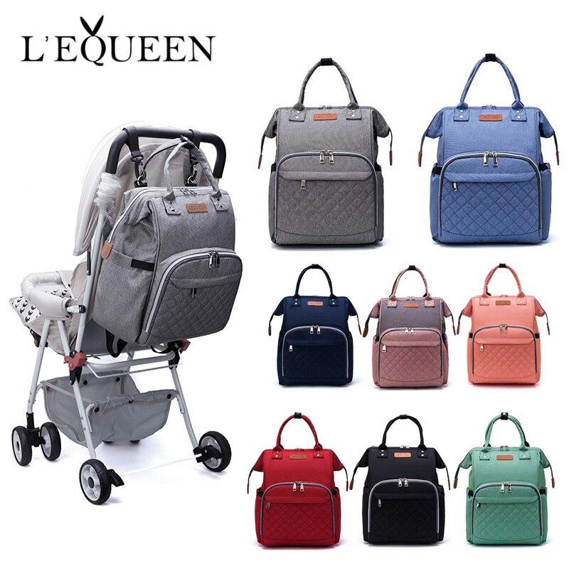 Lequeen moda de gran capacidad momia bolsa de pañales de maternidad bolsa de pañales mochila de viaje bolsa de alimentación de bebé