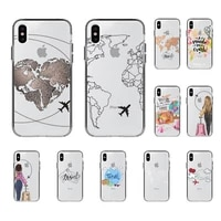fhnblj world map travel just go phone case for iphone 8 7 6 6s plus x 5s se 2020 xr 11 12 pro xs max