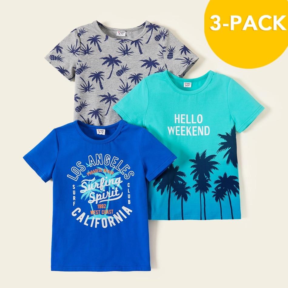 PatPat 2021 новый летний 3 чaсти дeтский кокосовое футболка с изображением деревьев комплект для 4 9Years одежда для маленьких мальчиков|Футболки для мальчиков| | АлиЭкспресс