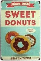 Signe drole en metal Donuts Best in Town  decor mural  Plaques en metal  signes retro  8x12 pouces