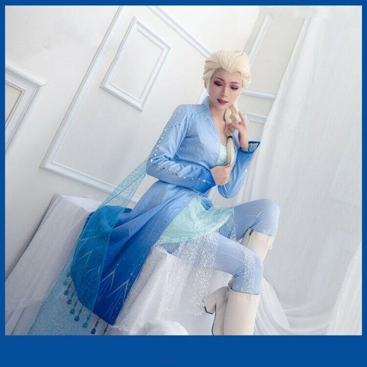 Disfraz de Reina Elsa, Princesa de hielo, Elsa, disfraz de Cosplay para adultos, Halloween, Carnaval, vestido de fiesta, trajes elegantes para niñas, cumpleaños