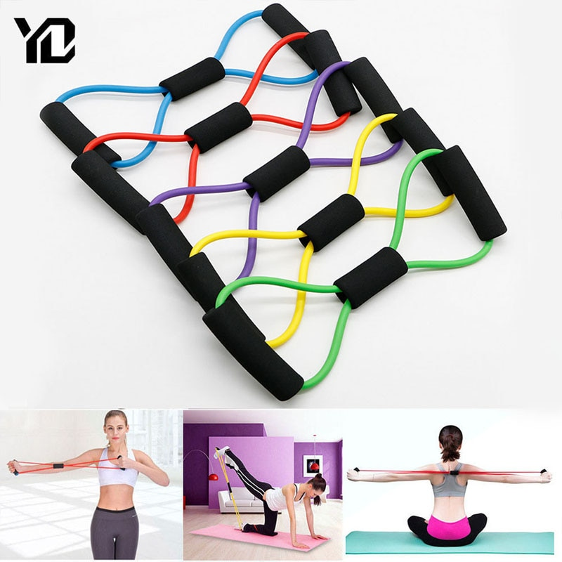 TPE 8 Word Fitness Yoga Gum Resistance Rubber Bands Fitness Elastic Band Fitness Equipment Expander Workout Gym Exercise Train