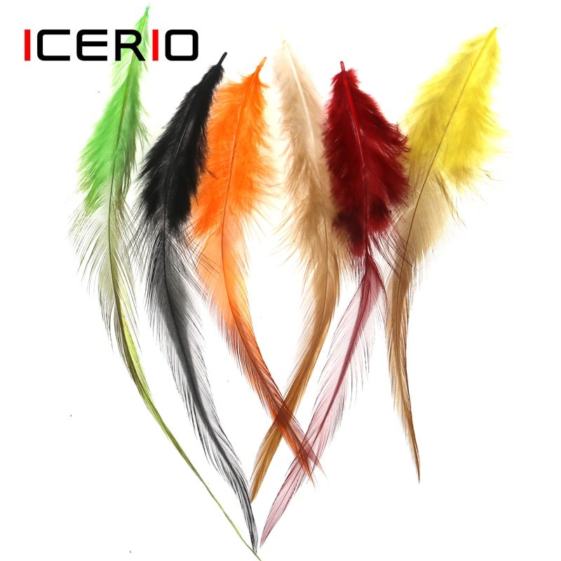 ICERIO 50PCS Fly Tying Hook Rooster Saddle Hackle Cock Schlappen Feather Trout Steelhead Flies Tying Materials icerio 50pcs fly tying brass beads nymph streamer bugs fly hook tying materials