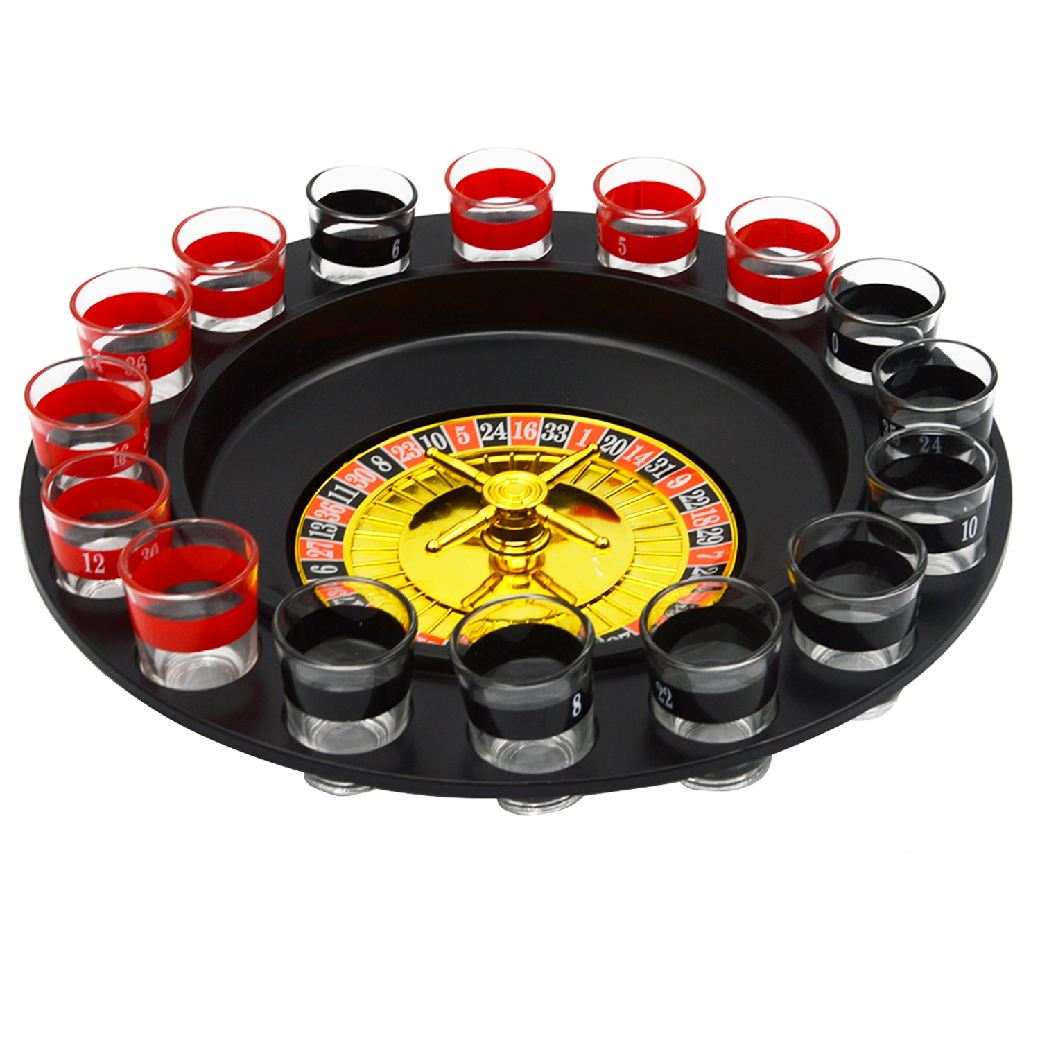Besegad Spin Shot Glass Russian Roulette Wheel Turntable Fun Table Drinking Game Set with 2 Balls 16Glasses Novelty Drinking Set