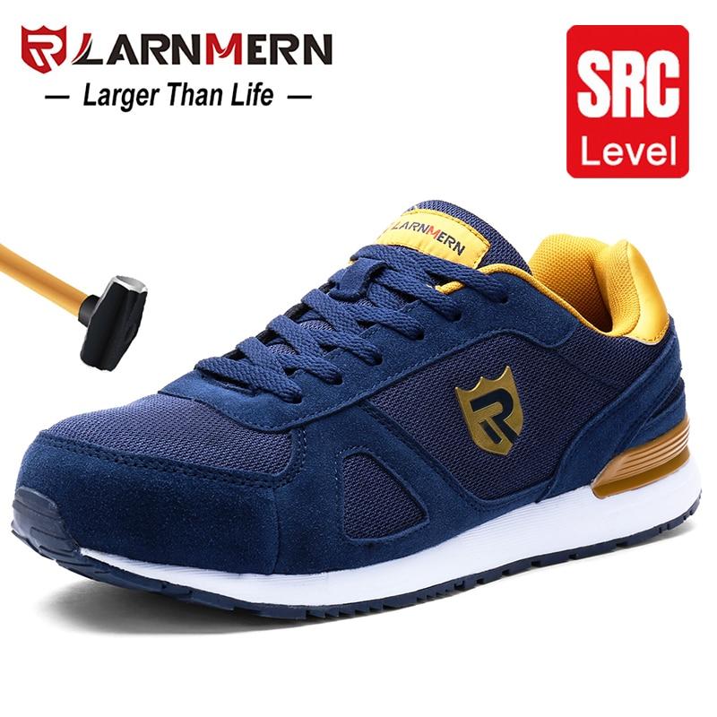 LARNMERN Men's Steel Toe Work Safety Shoes Lightweight Breathable Anti-smashing Non-slip Reflective