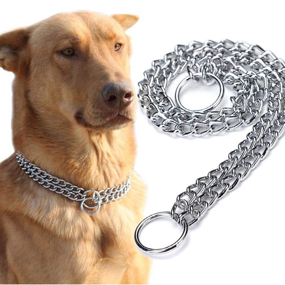 AliExpress - Slip P Chain Dog Choke Collar for Small Medium Large Dogs Heavy Duty Titan Training Collars 2 Row Chrome Adjustable Pet Collar