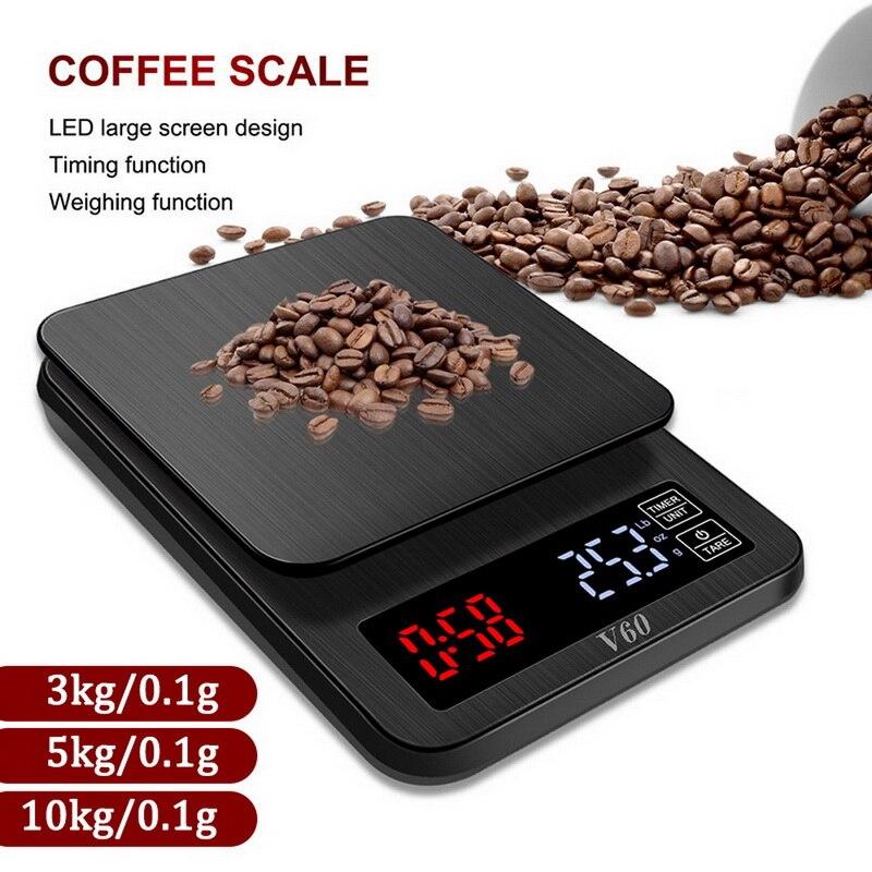 Balanza de cocina electrónica de precisión de 5kg/0,1g 10kg/1g Balanza de café Digital de goteo LCD con temporizador Balanza De Peso balanza doméstica