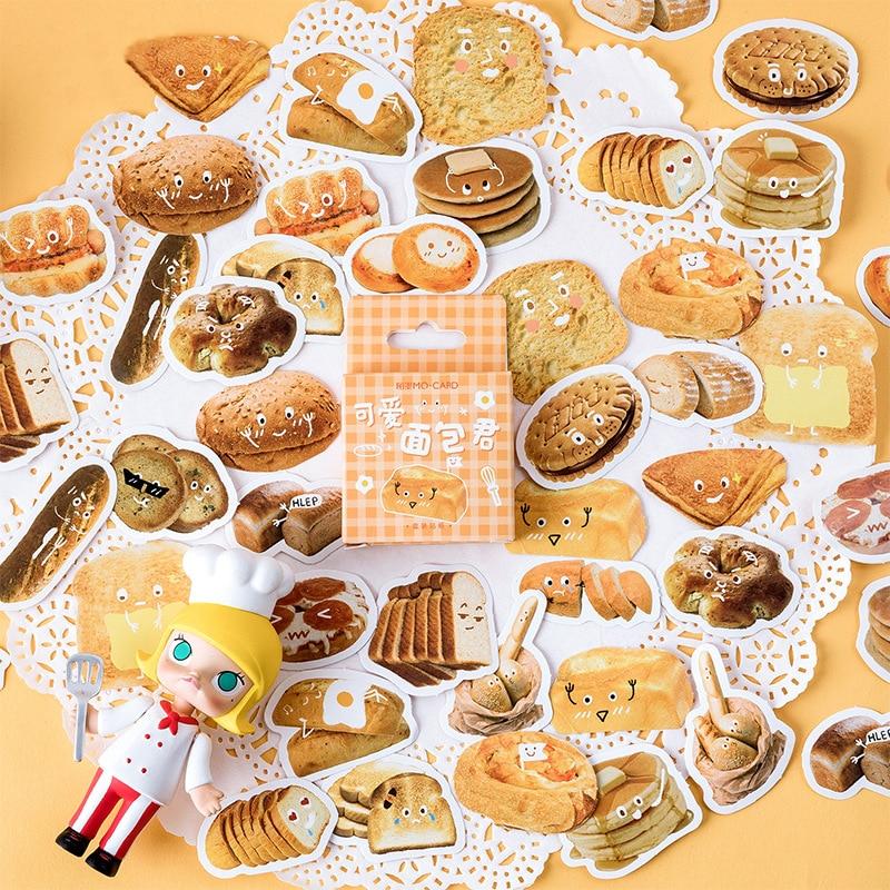 46 unids/pack Kawaii pan tostada pegatina Scrapbooking pegatinas rotulador diario DIY decorar escuela papelería bala diario sl2168