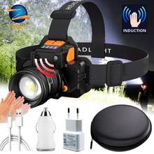 Powerful LED Headlight Sensor T6 Head Lamp 8000lumens Flashlight Torch Headlamp Built-in 2 18650 Battery for Camping, Fishing
