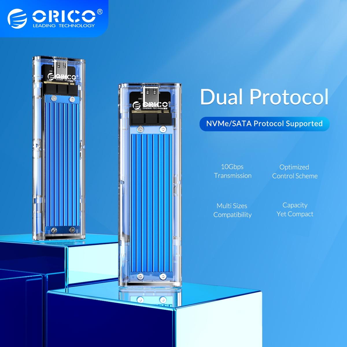 ORICO M2 SSD Case NVMe NGFF Dual Protocol USB3.1 GEN2 10Gbps SSD Enclosure for NVME PCIE M Key NGFF SATA B&M Key SSD Disk