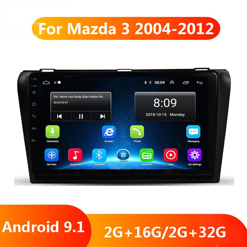 Reproductor Multimedia para coche DVD GPS Android 9,1, Radio estéreo para coche, mapas gratuitos, Quad Core 2 din, para Mazda 3 Mazda3 2004-2013 maxx axel