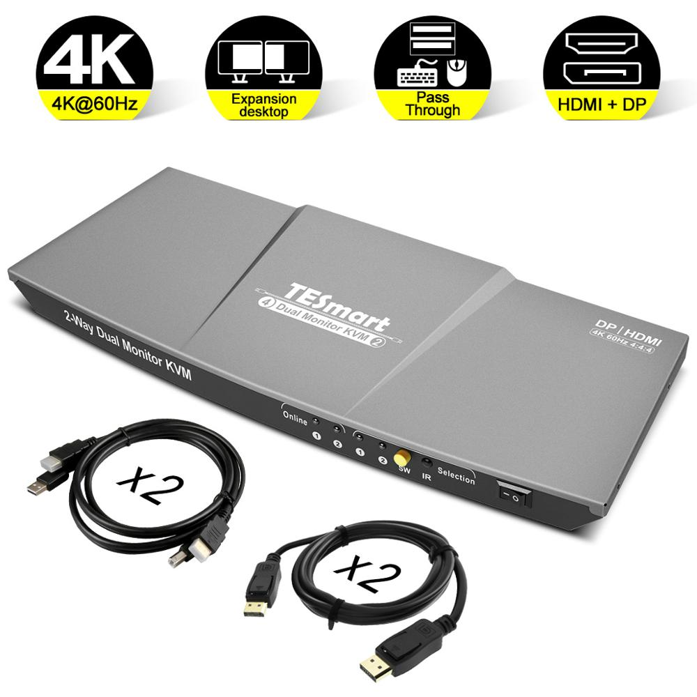 DisplayPort Dual Monitor KVM Switch Support UHD 4K@60Hz USB 2.0 Devices Control up to 2 Computers with (DP+HDMI+USB) In