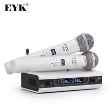 EYK E3002 전문 UHF 가라오케 무선 마이크 시스템 장거리 듀얼 메탈 핸드 헬드 마이크 송신기 음소거 기능
