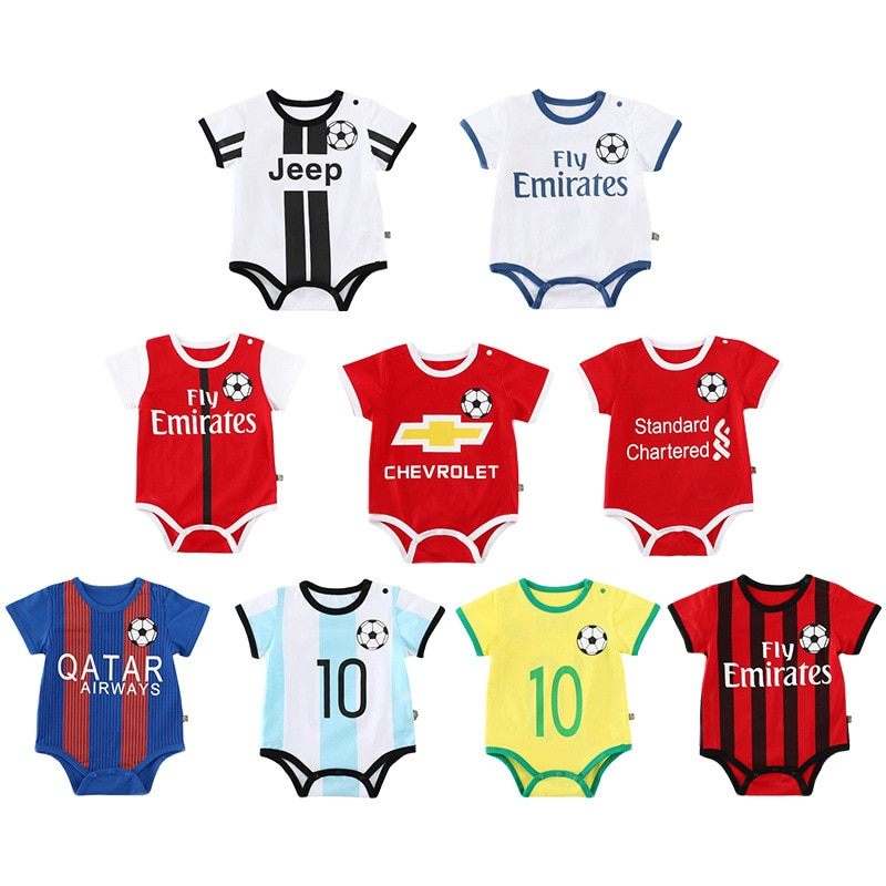 Baby Romper 2020 Children Jumpsuit Baby Boy Girls Clothes Summer Short Sleeve Football Team Romper Sports No. 23 Newborn Clothes