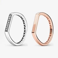 2021 new 925 sterling silver shiny strip laminated pan ring for womens gifts wedding diy jewelry
