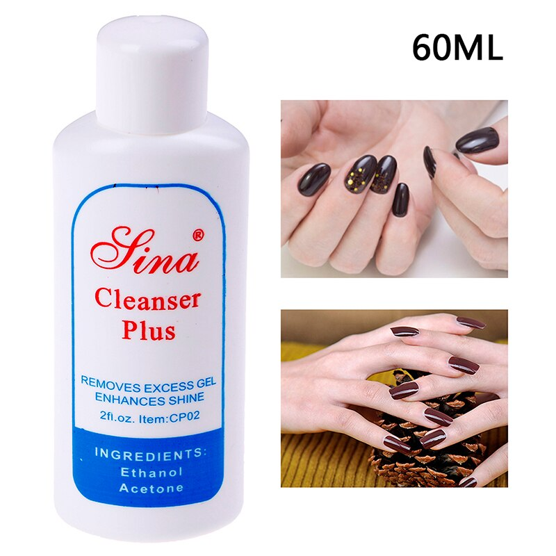 UV Gel Polish Excess Remover 60ML Cleanser Plus Liquid Surface Sticky Layer Residue Nail Art Acrylic Clean Degreaser For Nail vrenmol 7ml 2 minutes burst burst remove gel layer residue 7ml nail acrylic remover degreaser