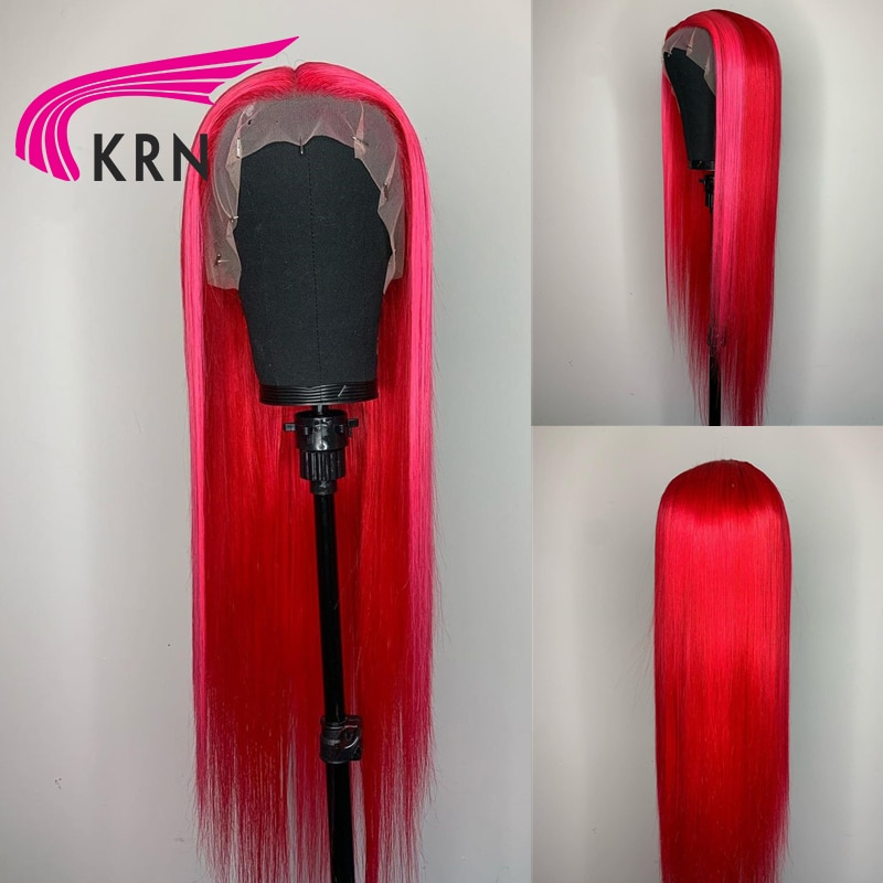 Pink Red Colored 13X4 Lace Front Human HaIr Wigs With Baby Hair Remy Hair Straight Lace Wigs For Women