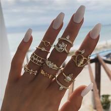 WUKALO 12 Pcs/Set Bohemian Gold Crystal Geometric Leaf Heart Flower Ring Set Women Charm Joint Rings Party Wedding Jewelry