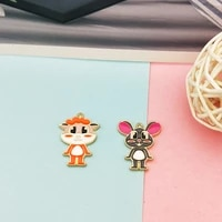 10pcs cute animal rats enamel charms pendants fit fashion earring jewelry making accessory cartoon mouse keychain charms fx236