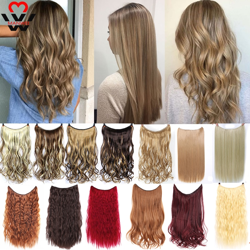 AliExpress - MANWEI Clip in Hair Extensions Invisible Wire Secret Fish Line Hairpieces Silky Red Long Straight 22inches Hair accessories