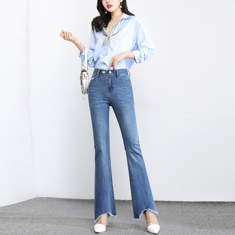 New Irregular Woolen Trousers Women's Trousers Spring and Summer Fashion All-match Slim High Waist Hip Denim Flared Trousers