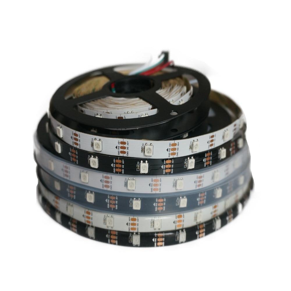 ws2812b ws2812 rgb led strip ws2812 individually addressable ic black white pcb waterproof grade ip30 ip65 ip67 dc5v 1m 5m DC5V WS2812B WS2812 Led Pixel Strip Individually Addressable Smart RGB Led Strip Light Tape Black White PCB IP30/65/67