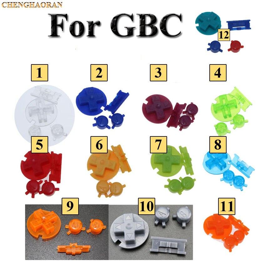 Chenghaoran 12 cores 24 conjuntos de substituição colorido chaves conjunto substituição para gameboy cor gbc no botão fora botões ab d almofadas