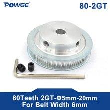 POWGE 80 dents 2M 2GT poulie synchrone alésage 5/6/6.35/ 8/10/12mm pour largeur 6mm 2MGT courroie de distribution GT2 poulie courroie 80 dents 80 T