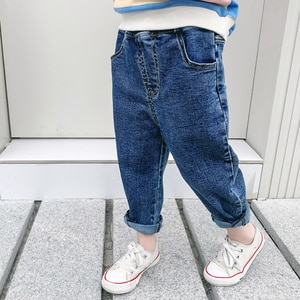 CNUM Autumn Baby Girls Loose Solid Color All-match Denim Jeans Toddler Boys Fashion Soft Long Pants 1-7Y