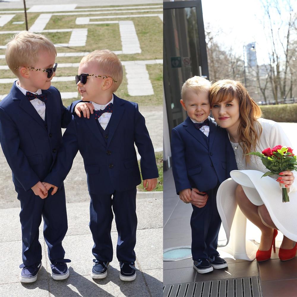 بدلة عشاء رسمية باللون الأزرق الداكن للأولاد ، مناسبة خاصة للأطفال (جاكيت + بنطلون)