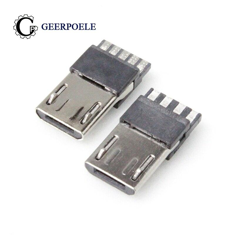 100 unids/lote 4p/5p Micro USB conector macho conectores cola