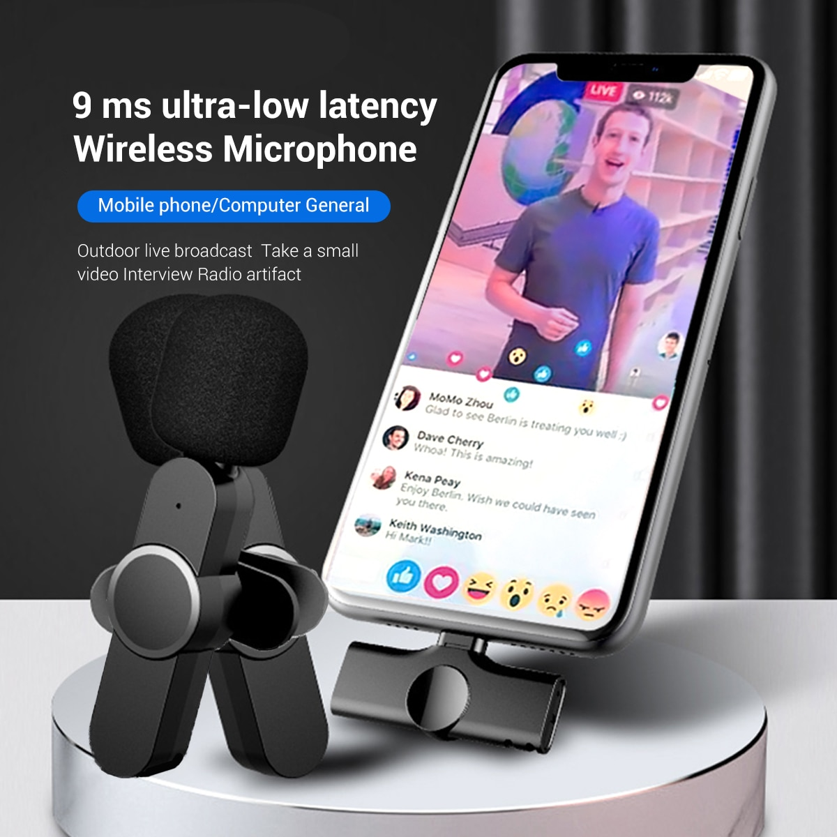 Aibevi Live Broadcast Mic Wireless Microphone System USB C Video Recording Mic for Type C for iOS Cellphone Mobile Phone Tablet enlarge