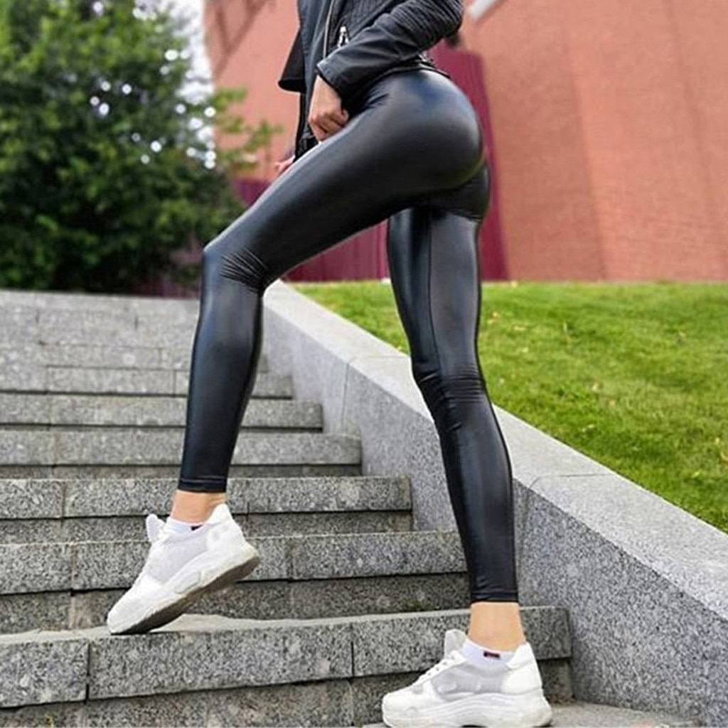 Women's Leather Bottom Pants Coloured Hip-up Bomb Slim Nine-minute Leggings Pants Women Ropa De Muje