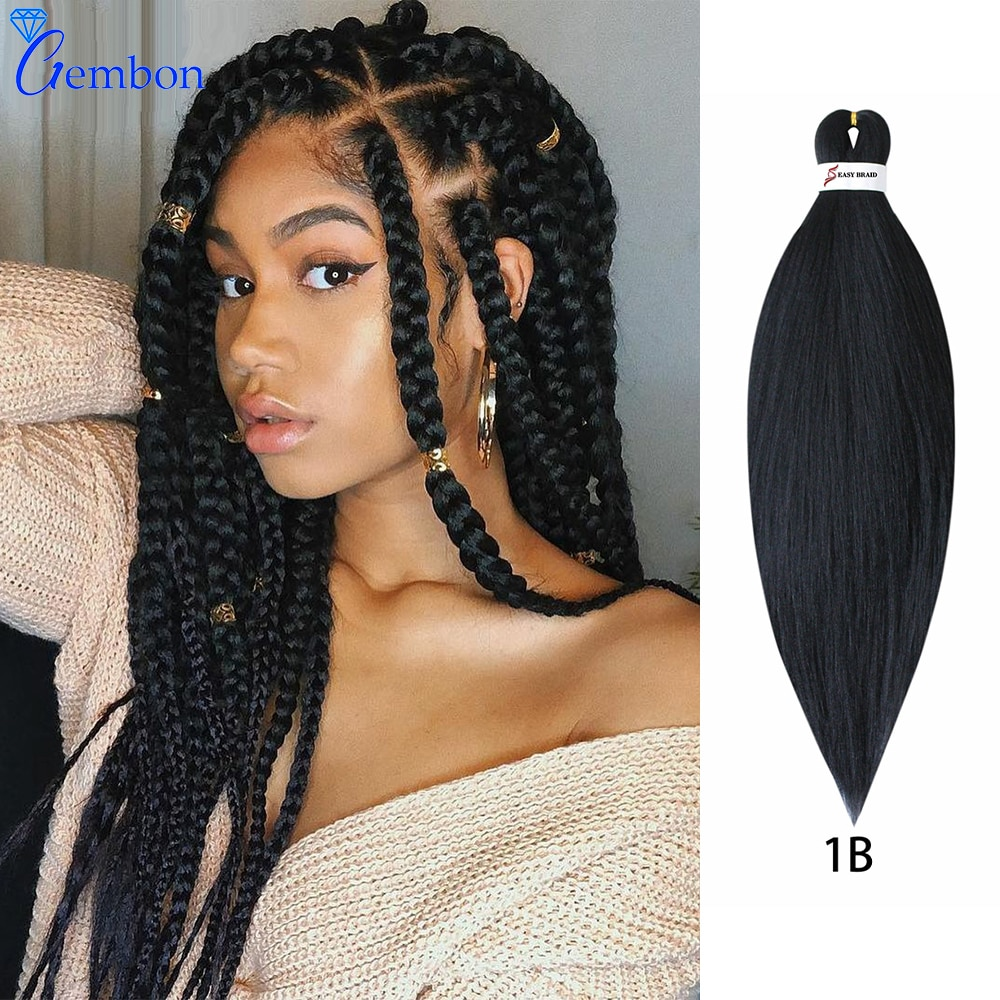 """26""""Easy Braiding Hair Braids Mix Color Pre Stretched Braiding Hair Low Temperature Fiber Ombre Synthetic Wig For Women GEMBON"""