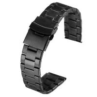 20mm 22mm black stainless steel watches strap men women superior bracelet firm buckle wristwatch band cinturino orologio