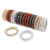 4pcslot silver gold metal punk telephone wire coil gum elastic rubber band wholesale girls hair tie ponytail holder bracelet