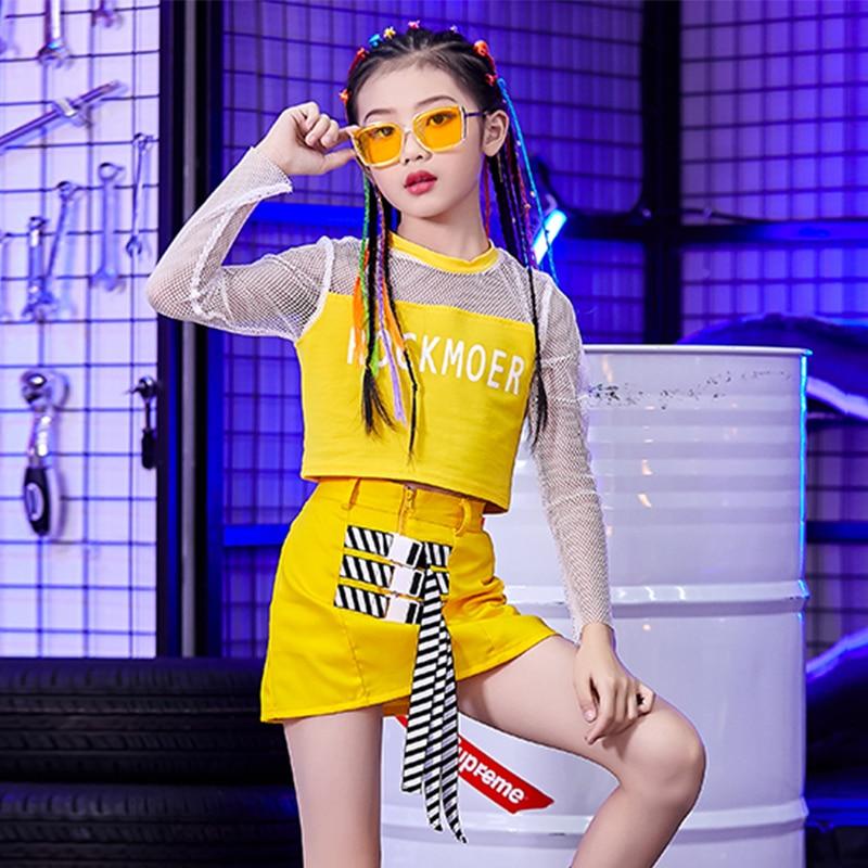 New Hip Hop Dance Costumes Yellow Mesh Top Girls Cheerleading Clothing Children Jazz Stage Wear Stre