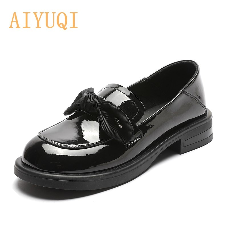 Genuine Leather Shoes Women Spring 2021 New Fashion Round Head Bow Girl Shoes Thick Heel British Sty