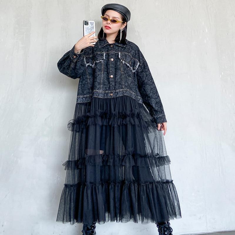 QING MO Black Blue Women Denim Coat 2020 Women Mesh Patchwork Coat Female Vintage Loose Coat Outwear ZQY3197
