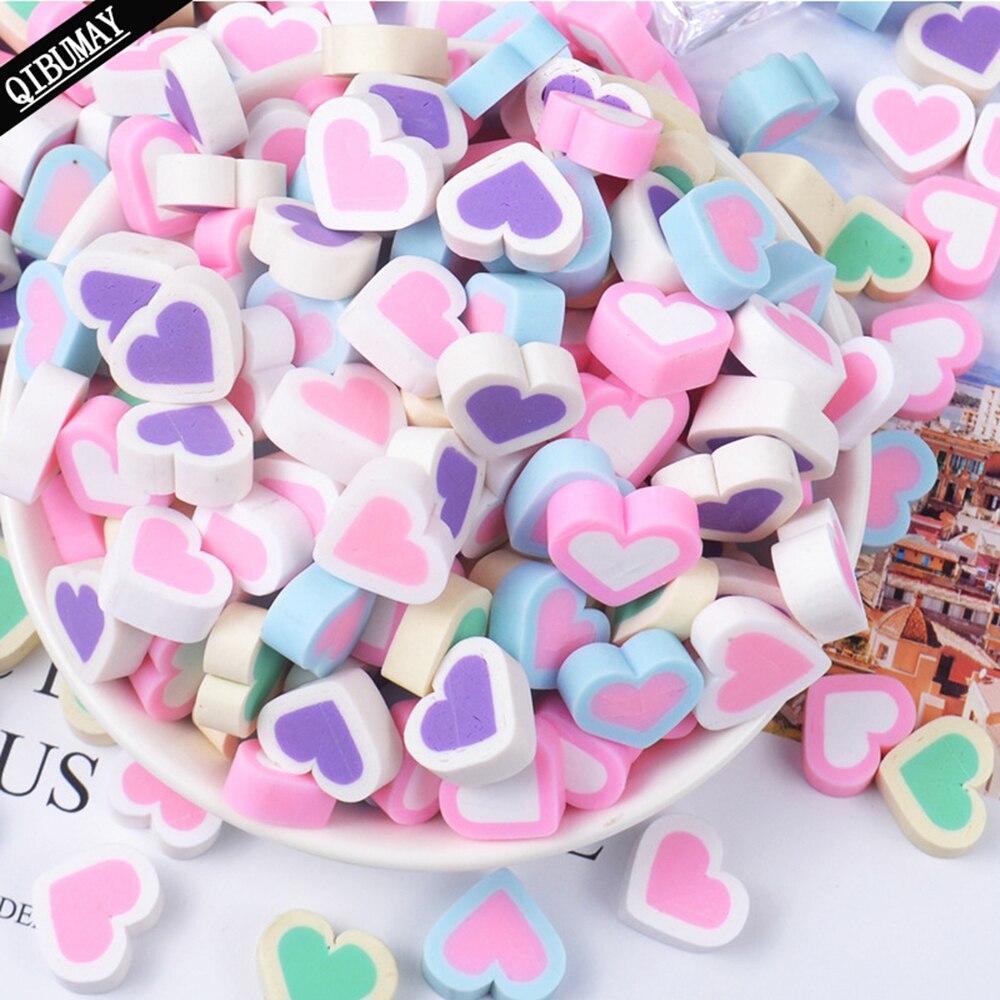 QIBU 20 Uds. Accesorios para manualidades de corazones de arcilla, dulces, rosa, decoración de funda de teléfono DIY, lazo artesanal, Material plano, artesanías de reverso plano
