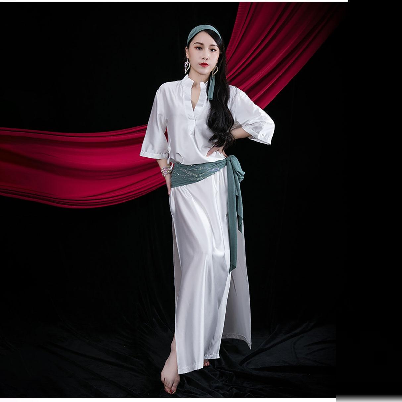 2021 ملابس رقص البطن أداء الإناث زي عصا المصرية الشعبية مخصص سعيدي رداء فستان طويل رداء حزام عقال 3 قطعة