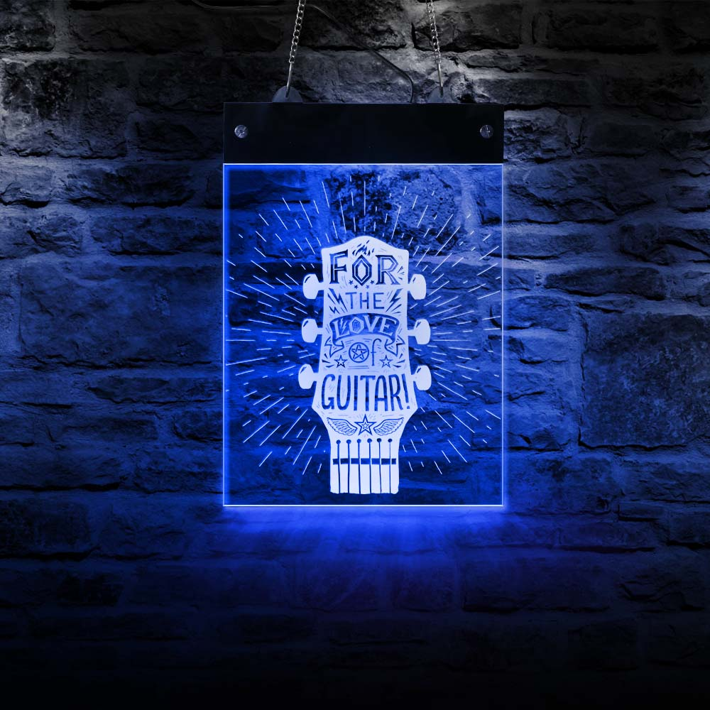 For The Love Of Guitar LED Wall Sign for Cool Light Guitar Fretboard Lighting Wall Art Guitarist Electronic Signs Light Board