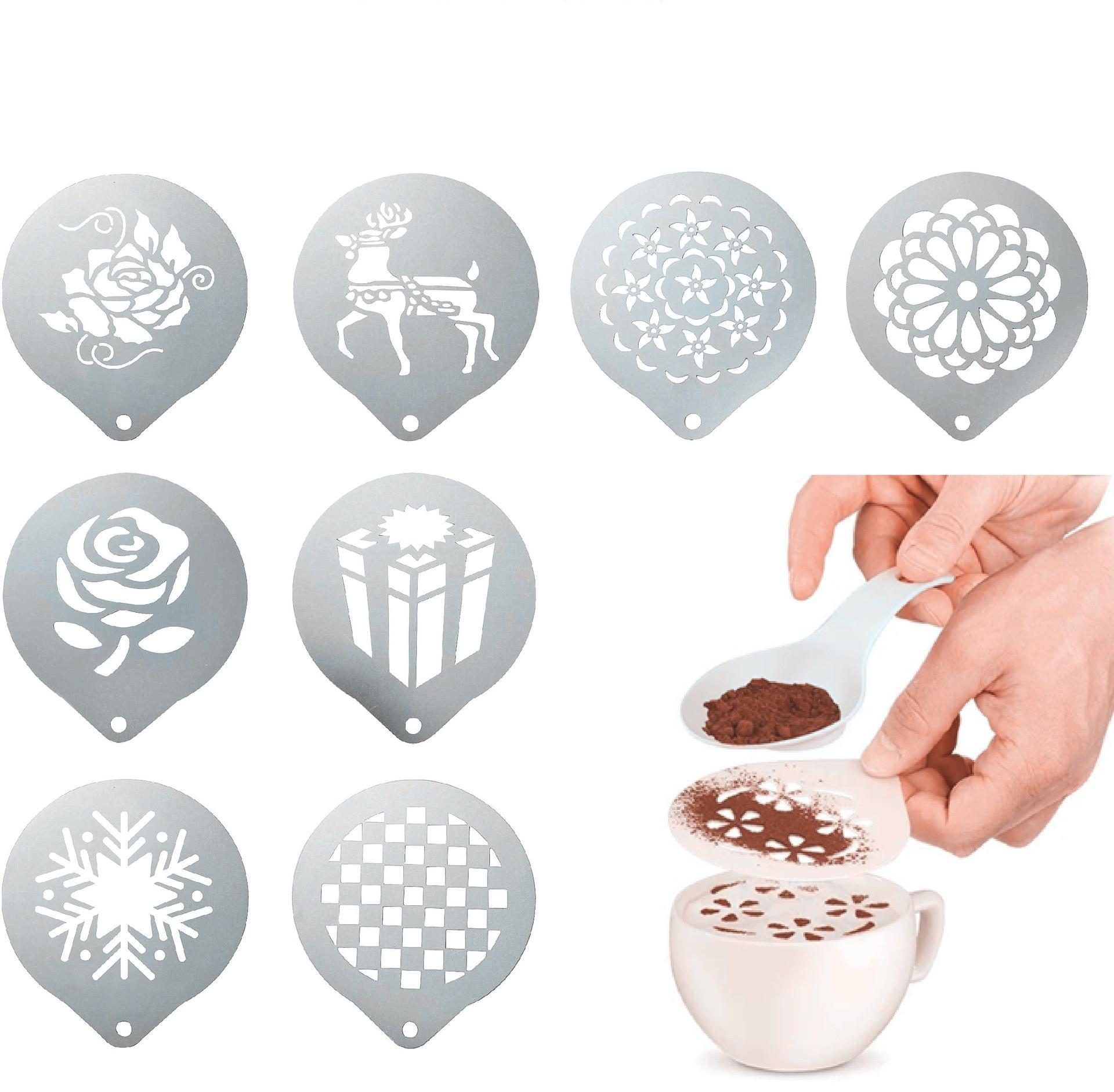 Красивый шаблон для печати на кофе, кухонная посуда, шаблон для распыления кофе, кухонные гаджеты, форма для рисования, шаблон для распылени...