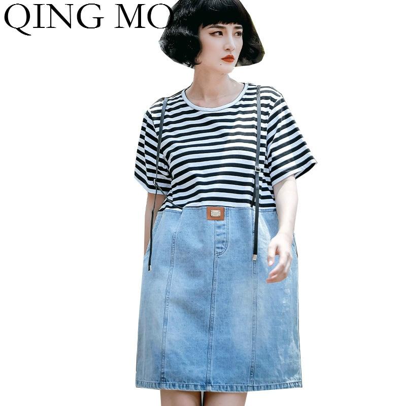 Qing mo 2020 verão feminino vestido listrado denim retalhos vestido feminino manga curta solto moda maré zqy4203