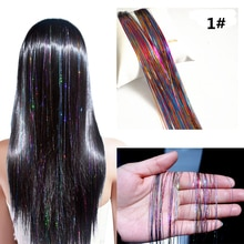 1pcs/lot 150 Strands Hair Tinsel Sparkling Hair Extention Strands For Women's Accessories