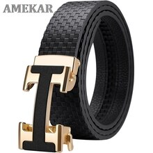 New style Genuine leather Men Belt Fashion alloy Automatic Buckle high quality luxury cowhide casual